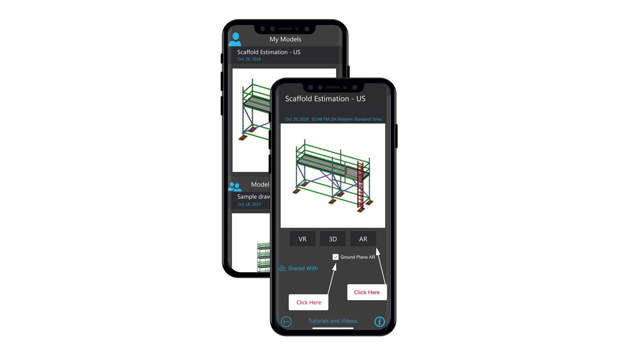 Avontus Viewer on a mobile device showing a scaffolding drawing with the option to select AR mode.