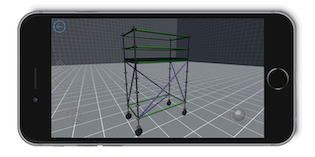 Avontus Designer on a mobile device showing a 3D image of scaffolding casters.
