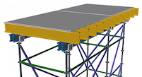 3D image of scaffold shoring and decking.