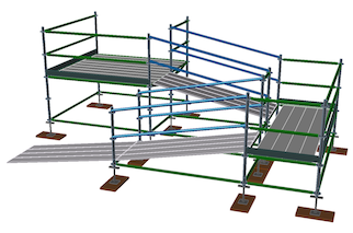 3D image of scaffold ramps, decks, and guardrails.