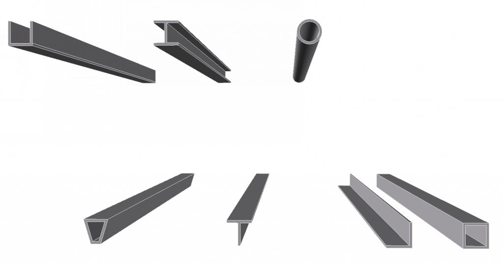 3D image of various construction beams