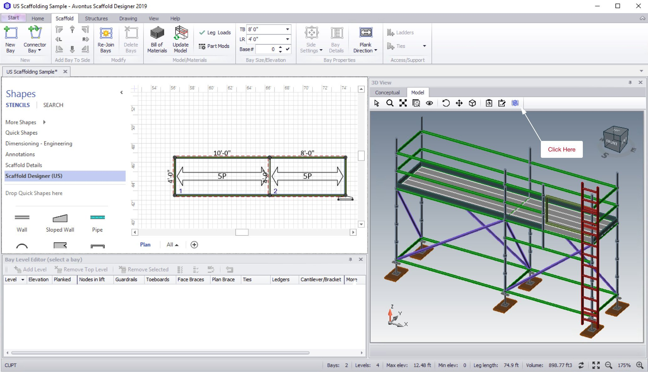 Launch Avontus Designer, open a drawing, select the Model tab in the 3D view window and select the Avontus Viewer icon.