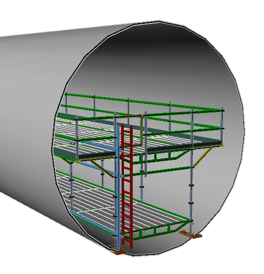 3d image of scaffolding inside a pipe.