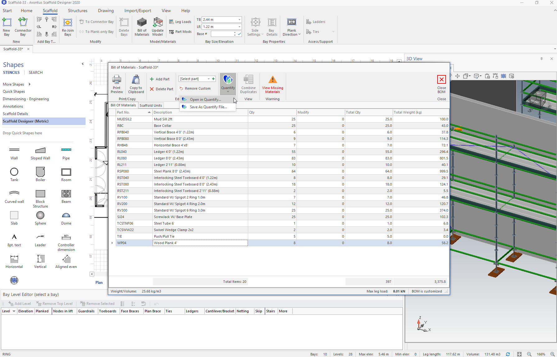 Screenshot of how Scaffold Designer integrates with Quantify.