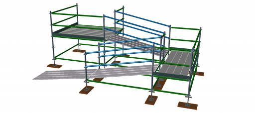 3D image of sloped bay with ramps