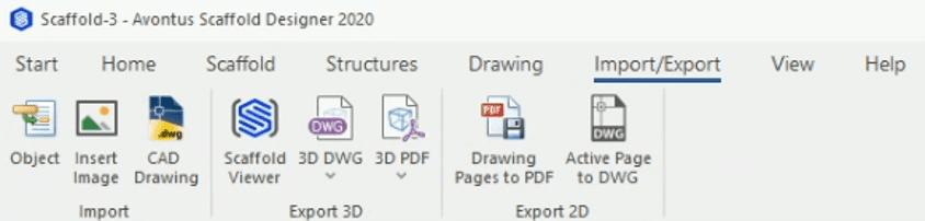 Screenshot of Avontus Designer's Import/Export tab.