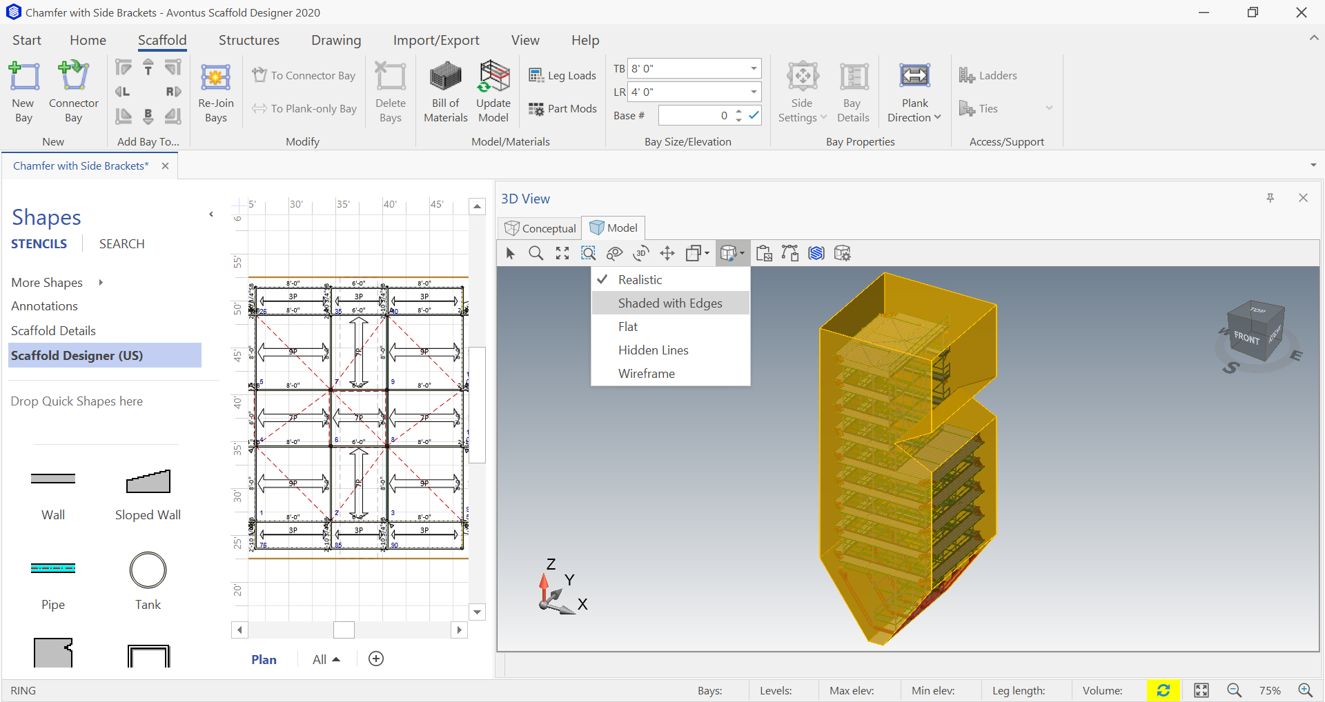 New shading modes are available with Scaffold Designer 2020 3D model view.