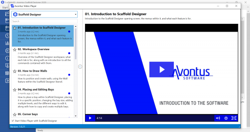 Scaffold Designer's new Training Video Player allows users to learn the software quickly.