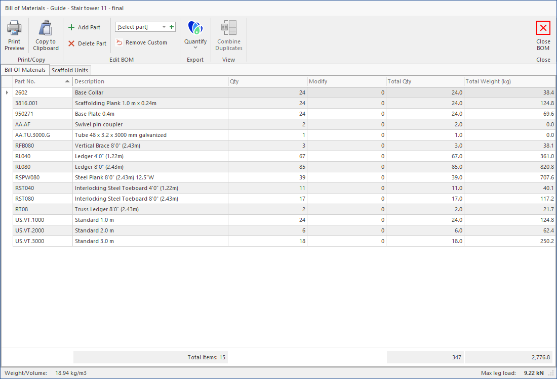 Screenshot of Bill of Materials (BOM) feature on Scaffold Designer.
