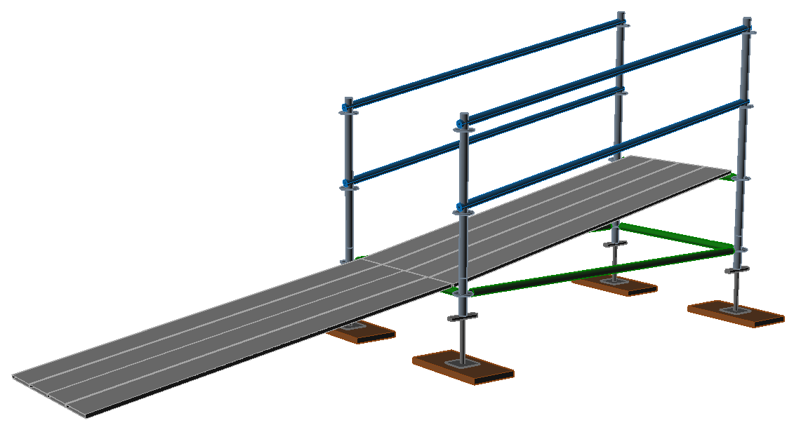3D image of a sloped bay with ramp.