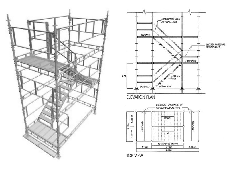 diagram of staircase tower scaffold