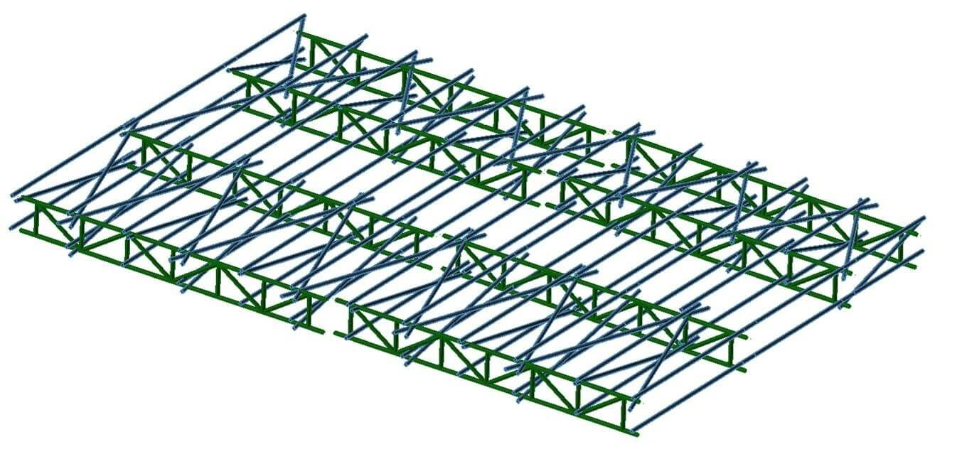3D model of a scaffolding structure.