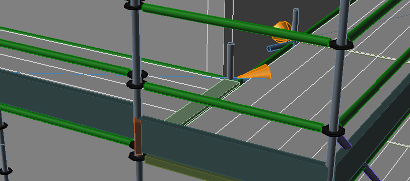 Screenshot of return transoms at a corner connection.