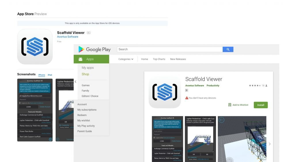 Download the Scaffold Viewer application on the App Store or Google Play Store.