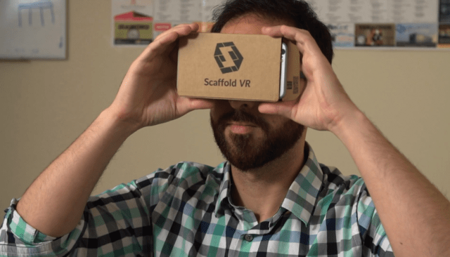 A man using the Scaffold VR lens.