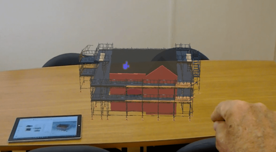 Augmented reality of a 3D drawing in Avontus Scaffold Designer.