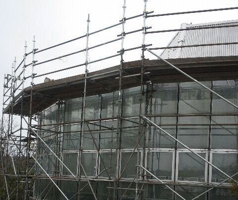 Close-up of scaffolding works done by THAT Group Inc.