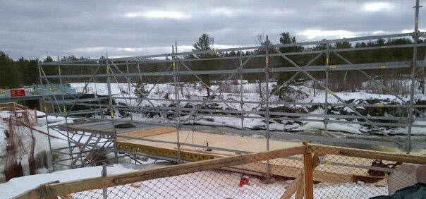 Scaffolding work in progress during winter.